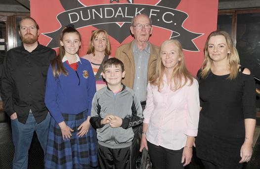 Kieran Murphy, Ava Hamill, Niamh Murphy, Tadgh Campbell, Jim Murphy, Deirdre Murphy and Bronagh Murphy at the Dundalk FC 'One Team One Dream' Exhibition in the County Museum