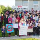 A large group of parents and pupils at the Save Our School campaign at Scoil Naisiunta Bhrighde in Faughart