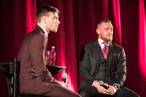Andrew McGahon interviewing Conor McGregor on stage following his premiere last week.