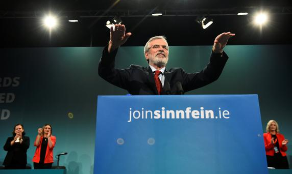 Sinn Fein President Gerry Adams delivers a speech at his party's annual conference in Dublin