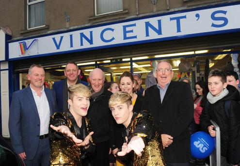 Jedward at the official opening of the new St. Vincent's de Paul shop on the Castletown Road, with Dermot McGilloway, along with Peter Johnson, Kevin Mulligan, Ashling Mathews and Aidan Devenney, St. Vincent's de Paul.