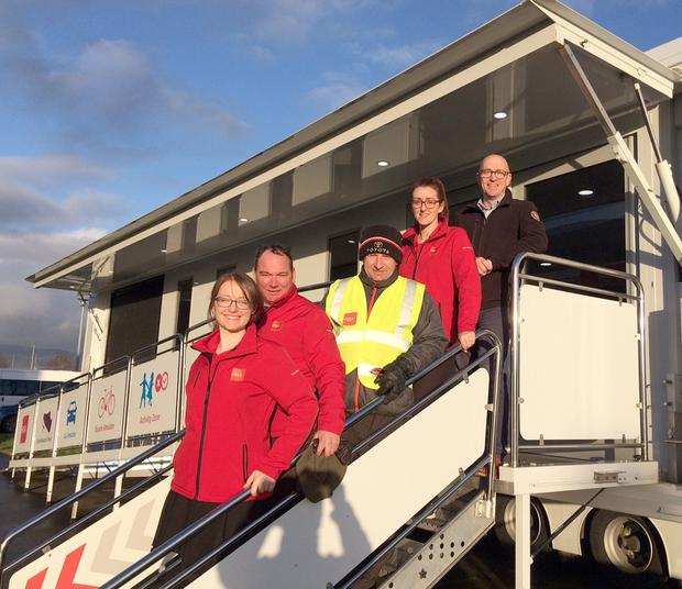 Paul Heaney ABB,(top) Laura Tully, Dominic Smyth, Stewart Clarke and Rebekah Comerford (RSA) at the Road Safety Authority Ireland Shuttle bus hosted by ABB Ireland.