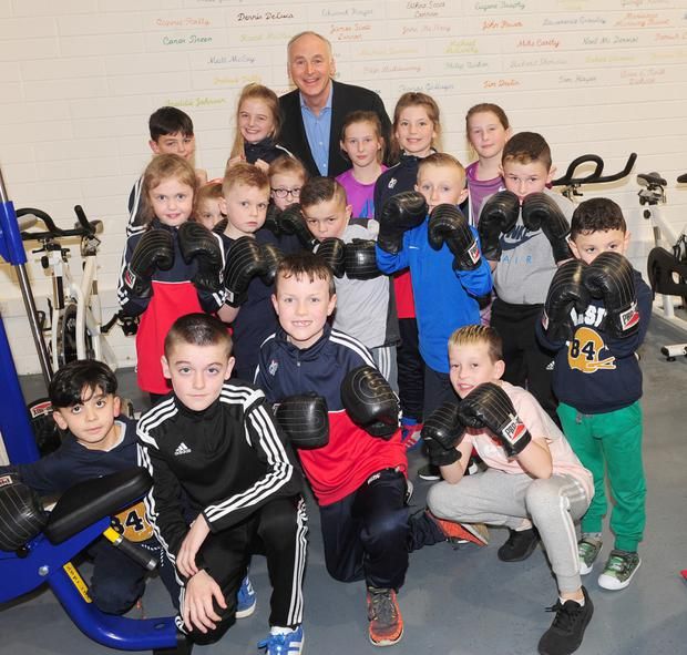 John Fitzpatrick with a group of young Boxers at the official opening of the O'Hanlon Park Amateur Boxing Club at Longwalk, Dundalk.