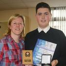 Risa Champion, teacher and Kevin Meenan, Award Winner at St Brigid's Annual Awards Ceremony