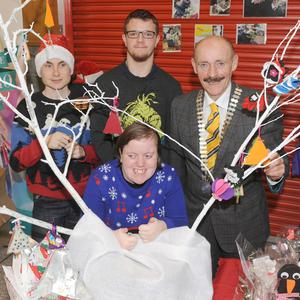 Michael Gaynor, President, Dundalk Chamber of Commerce, with Sarah Louise Clarke, Tadgh O'Rourke and John Power at the St.Brigid's School Craft Pop Up Shop in The Longwalk Shopping Centre