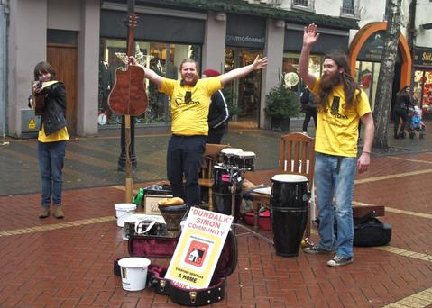 Local musicians who took part in the busk for Simon