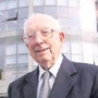 TK Whitaker outside the building named in his honour at DkIT.