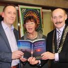 Author, Anthony Murphy, Dolores Whelan, Brigid of Faughart Festival Committee and Michael Gaynor, President, Dundalk Chamber of Commerce at the launch of the Brigid of Faughart Festival