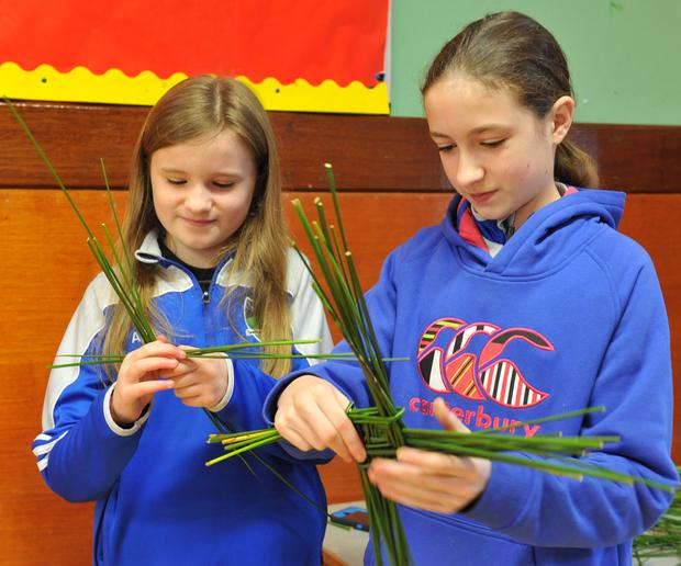 Ava and Lauren Briscoe at the annual St. Brigid's Cross Fundraiser held in Faughart NS with members of Faughart Community and Roche Emmets Ladies. Picture: Ken Finegan