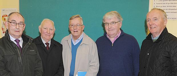 Sean McGuone, Patsy Martin, Fr. Jim O'Connell, Martin Hegarty and Pat Mulroy at Fr. Jim's farewell reception held in Gaelscoil Dhún Dealgan.