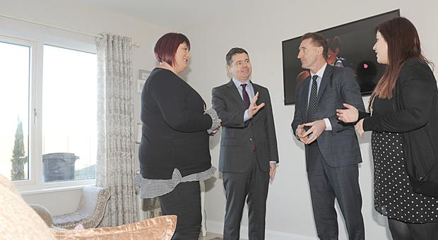 Minister for Finance Paschal Donohoe TD and Peter Fitzpatrick TD, with Mandy Stevenson and Laura Killalea, Clúid Housing Association at Urban Life, Mount Hamilton, Carrick Road.