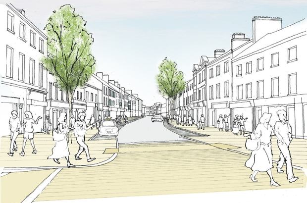 An illustration of how the streetscape will change under the plans.