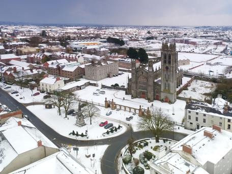Aerial photo of a snow covered Dundalk town centre last Wednesday morning