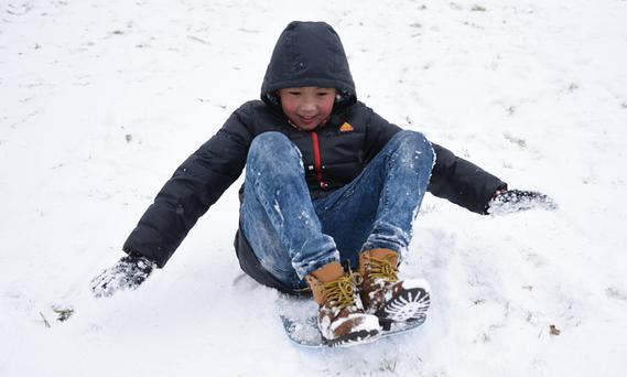 Joseph Zhao having a wonderful time at Ice House Hill