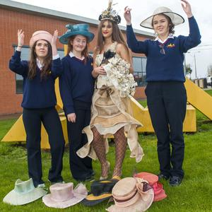 5th Year student Designer Leah Murphy with 3rd Year students Emma Cassidy (hair), Nadia Zalecka and Nicole Reynolds (make up) from Scoil Ui Mhuiri in Dunleer who created The Latest Bestseller