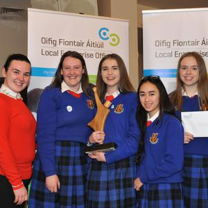 Best Display... Béibhinn Nic Ruairí, Emma Durnin, Kim Poole and Jenny Quinn, St. Vincent's and members of the mini company 'Once Upon a Tide', winners of the Best Display award in the LEO Louth Student Enterprise Competition pictured receiving their award together with their teacher Sarah Faughey from Cllr. Colm Markey, Chairman of Louth County Council and Thomas McEvoy, Head of Enterprise, LEO Louth