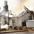 The scene of the fire at Foley's Thatched Tea Rooms in Castlebellingham on Monday morning