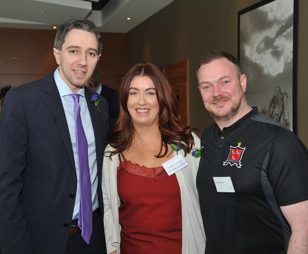 Iain and Marie Gallagher, Dundalk CF with Minister for Health Simon Harris TD