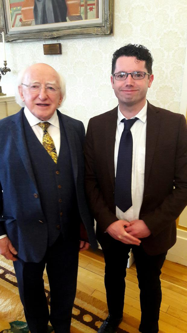 Local author Pádraig Hanratty pictured with President Michael D Higgins