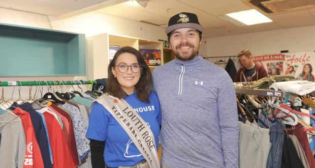 The Louth Rose, Aoife Heffron and Kevin White in the pop-up shop in aid of Little Princess Trust and Pieta House in The Longwalk