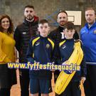 Fyffes marketing manager Emma Hunt-Duffy, Dundalk FC's Stephen Folan, Dundalk FC's Stephen O'Donnell and Padhraic Staunton, De la Salle PE Teacher with students Liam O'Hanlon and Rown Harmon during the Fyffes Fit Squad visit to the De la Salle
