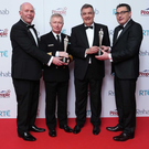 The community of Erris and the Irish Coast Guard have been jointly honoured at the 43rd Rehab People of the Year Awards, with special recognition for the four crew who lost their lives in the Rescue 116 tragedy. Broadcaster Bryan Dobson (second from right) presents (from left) John Gallagher, representing the Erris community, Chris Reynolds, Director, Irish Coast Guard, and Dr Keith Swanick, representing the Erris community, with a People of the Year Award at the 43rd Rehab People of the Year Awards 2018