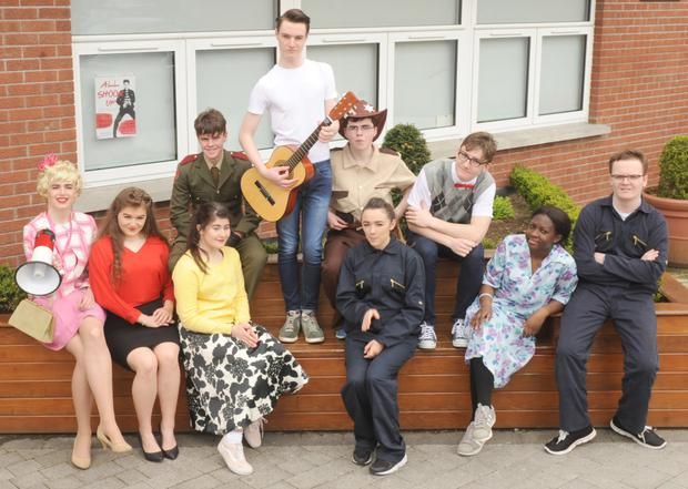 TY Students, Coláiste Rís, cast members in the musical, comedy based on the songs of Elvis Presley, 'All Shook Up', in An Tain Theatre. Included are: Calvin Magee as 'Mayor Matilda', Guoda Usaite as 'Miss Sandra', Miriam Finnegan as 'Lorraine', Oran Colgan as 'Dean Hyde', Eoghan McGeogh as 'Chad', John Brady as 'Sherrif Earl', Kerry-Anne Carr as 'Nathalie, Nathan McKenna as 'Dennis', Toyyibat Adewunmi as 'Sylvia' and Jack Murphy as 'Jim'