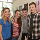 Chelsea Halpenny, Sarah Farrelly, Conor Sally and Nathan Hoey at the Ó Fiaich Institute of Further Education art exhibition held in the Marshes Shopping Centre