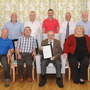 Kevin McGeough celebrating his 100th birthday in St. Peter's Nursing Home, Castlebellingham with family members, Catherine O'Hanrahan, with Oliver, Fintan, Martin, Kevin, Richard, Gerard, Paddy and Fergal McGeough