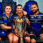 Rob Kearney (centre) with Rory O'Loughlin and captain Isa Nacewa celebrate with the cup in the dressing room after the European Rugby Champions Cup Final in Bilbao, Spain. Photo by Ramsey Cardy/Sportsfile