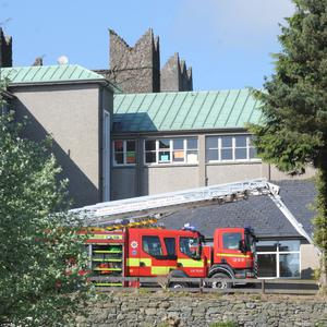 Fire engines at Dun Lughaidh Secondary School last Saturday morning