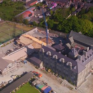 An aerial view of the ongoing construction work in the church grounds. Photo, Ken Finegan.
