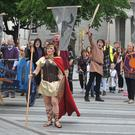 Flashback to 2017 . . . Queen Maeve rallies her army as the Táin March arrived in Dundalk. Picture: Ken Finegan