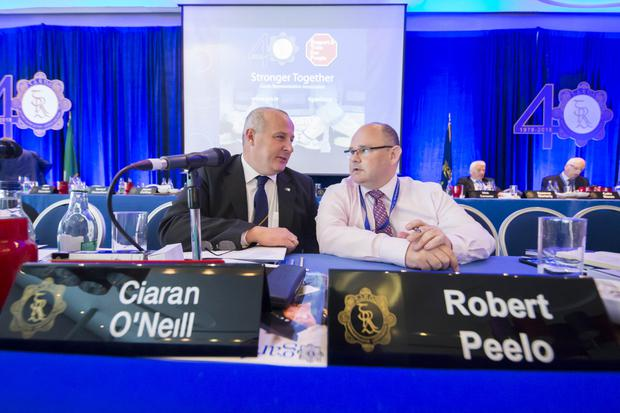 Garda Representative Association annual conference at Wexford. Pictured are Ciaran O'Neill, President and Dundalk based Robbie Peelo Deputy General Sec. Picture: Patrick Browne.