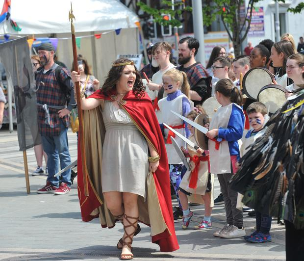 Queen Meabh, Helena Mullins rallies her troops during the Táin March demonstration held at the Market Square. Picture: Ken Finegan