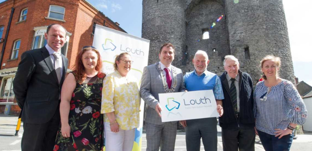 Louth County Council Chairman, Liam Reilly at the launch of the 2018 Louth PPN Awards. Also present is Benny Grogan