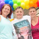Edel Sloane, Pauline McKeown and Gillian Berrill at the annual Dundalk Pride open day in the Outcomers' Courtyard at Roden Place