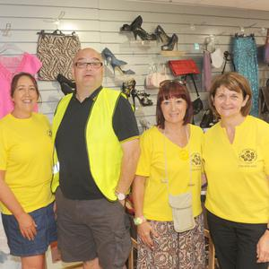 Jennifer Harrison (left), Alvaro Lucchesi, BB Lally and Fiona Lennon in the charity pop-up shop at The Longwalk Shopping Centre in aid of The Birches Centre