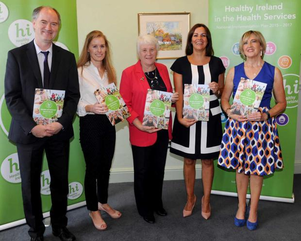 Pictured at the launch; left to right - Pat Benett, Chief Officer, Midlands Louth Meath CHO, Dr Stephanie O'Keeffe, HSE National Director, Strategic Planning and Transformation, Catherine Byrne, TD, Minister of State for Health Promotion and the National Drugs Strategy, Fiona Murphy, Head of Health and Wellbeing, Midlands Louth Meath CHO and Sarah McCormack, HSE National Healthy Ireland Programme Lead