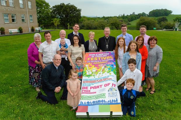 Archbishop Eamon Martin with members of the Hughes and McParland families also present Mr. Malachi Cush, Fr. Gerry Campbell, Sr. Anne Lyng and Mrs. Sharon Dunne. Photograpy by Liam McArdle