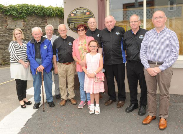 Members of The Newry Maritime Association with Jane and Declan Tinnelly who unveiled a plaque at The Greenore Railway Saloon about the maritime tragedy