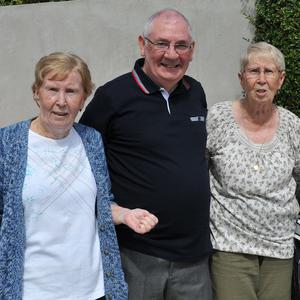 Sisters Carmel Muckian and Olive Roddy with Joe and Maria Callan at the Hyde Park 80th anniversary street party. Pictures: Ken Finegan