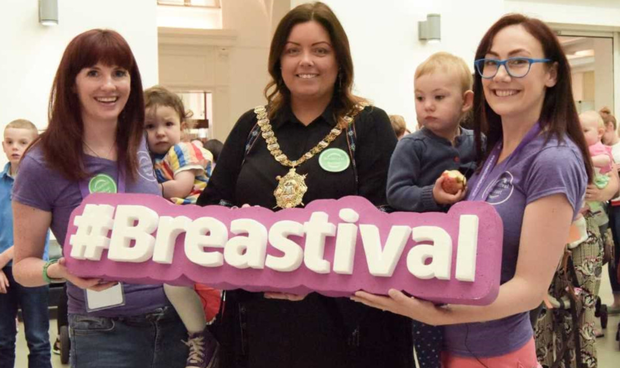 Co-founders of Breastival with Belfast's Lord Mayor R-L: Dr Jennifer Hanratty and daughter Eimear, Cllr Deirdre Hargey Lord Mayor of Belfast, Jennie Wallace and daughter Cleo. Photo by Wheel in the Wind Photography