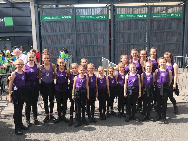 Local dancers pictured outside Croke Park before their performance of Riverdance for Pope Francis