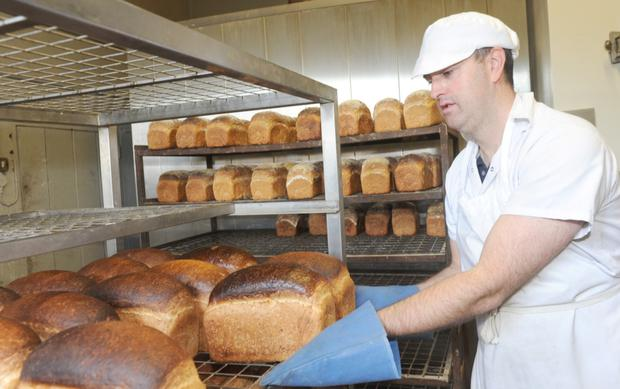 Ian McCloskey working in O'Neills Bakery, Annagassan