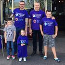 Picture shows Conal Kellegher (left) with his children Daegan and Sadhbh and Kevin Haughey with his son Jack.
