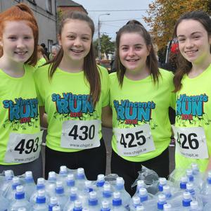 Hannah Coleman, Sarah McDonnell, Caoimhe Cunningham and Grace Dearey at the St. Vincent's Run