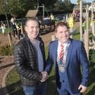 Ken Babington, Kilkerley Playground Association Committee, with Cllr. Liam Reilly, Chairman, Louth County Council