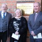 Ken Ramsay (left) with Trish McKeague and Rev. Geoffrey Walmsley at the Dún Dealgan NS 125th anniversary and opening of the new extension celebrations