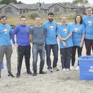 The group who took part in the beach ice bath challenge in aid of the 3Ts anti-suicide charity at Blackrock beach. Included are, Andrew White, Eamonn Kelly, John McKeown, Aravind Krishnan, Catriona Quinn, Tara Curran, Ryan Sheerin, Karl Bracken, Stephen McDonnell and Durgesh Twirari